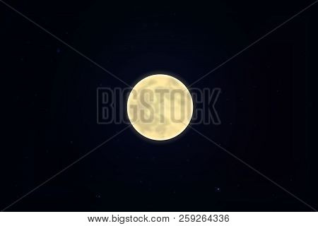Full White Moon Isolated On Dark Starry Sky, Night Background. Closeup Moon And Star Light Effect. G
