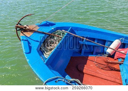 Anchor In A Traditional Portuguese Fishing Boat. Prow