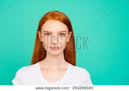 Portrait Of Nice Positive Calm Content Attractive Cute Bright Vivid Shiny Red Straight-haired Girl I