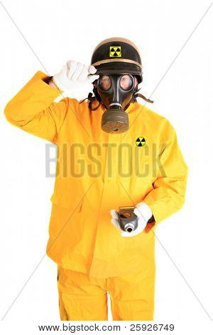 A Nuclear Safety Inspector wears his