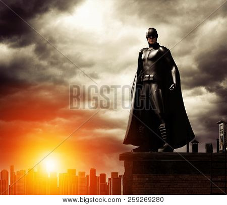 A Dark Heroic Costumed Superhero On A Rooftop Overlooking A Cityscape, Dramatic Sky, 3d Render, Mixe