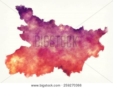 Bihar Federal State Watercolor Map Of India In Front Of A White Background