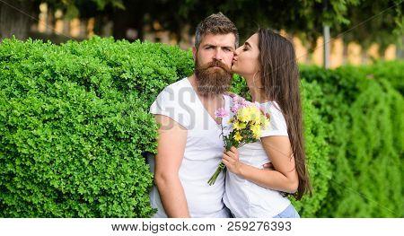 Gentle Kiss. Tender Romantic Feelings Beginning Of Relationship. Man Bearded Hipster Hugs Gorgeous G