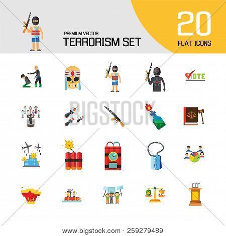 Terrorism Icon Set. Kamikaze Fire Cocktail Dynamite Army Tags Hostage Bomb With Timer Machine Gun Mi