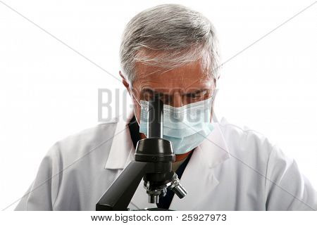 a medical research scientist or chemist works in hi lab.    isolated on white with room for your text. .