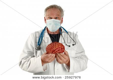 medical and science - a doctor or brain surgeon holds a brain with a strange confused look on his face. isolated on white with room for your text poster