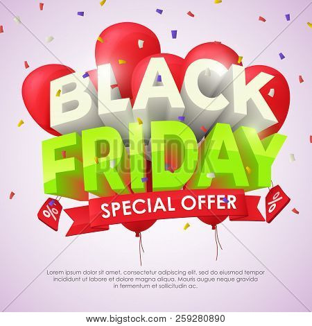 Sale Banner Template Design. Big Sale Special Offer. Seasonal Discounts. 3d Letters And Red Balloons