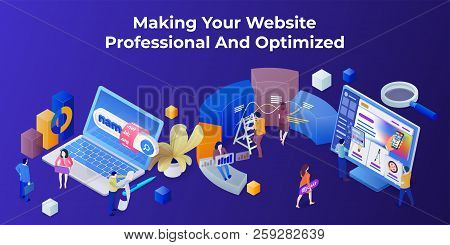 Template For The Landing Page And Slider In The Modern 3d Isometric Style. Purchase Of A Domain Name