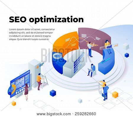 Search Engine Optimization And Analytics. Promoting Business On The Internet. Template In 3d Isometr