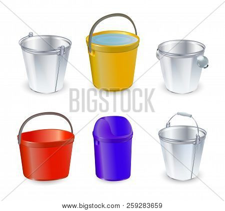 Bucket Vector Bucketful And Bitbucket Plastic Pail Empty Or With Water Bucketing Down In Garden And