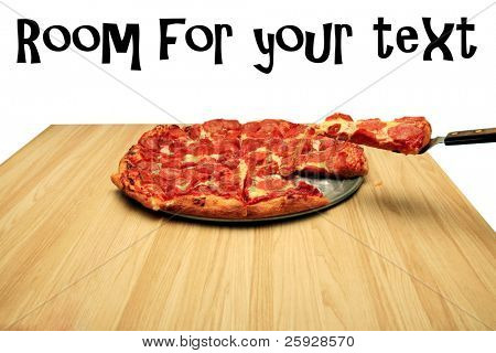 hot fresh pepperoni pizza with a slice being served to a hungry customer. isolated on white with room for your text