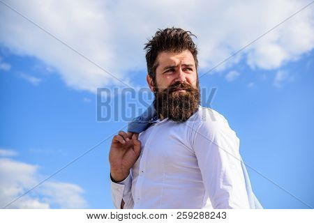 Hipster Beard Mustache Looks Puzzled Frustrated. Man Bearded Hipster Formal Style Look Back Sky Back