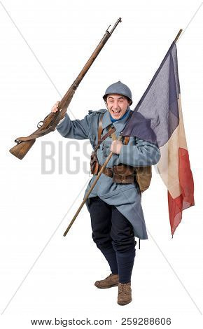 French Soldier, 1914 1918 With Flag, Isolated On A White Background