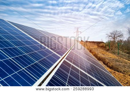 Solar panels energy modern electric power production technology renewable energy concept