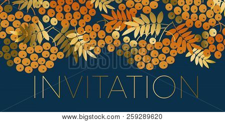 Simple Orange Rowanberry Pattern For Autumn Design Projects. Halloween Or Thanksgiving Day Stylish E