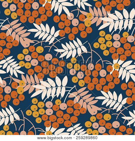 Blue And Gold Bright Rowanberry Seamless Pattern For Autumn Design. Fall Natural Rowan Repeatable Mo