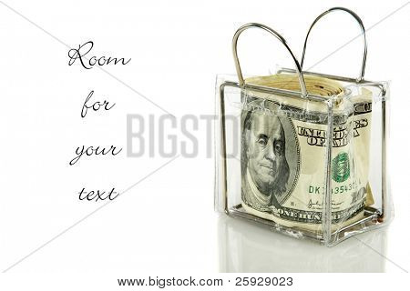 a clear plastic coin purse jam packed with $100.00 dollar bills. isolated on white with room for your text