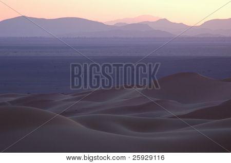 Sunset over the sand dunes of Erg Chebbi in the Sahara Desert, Morocco