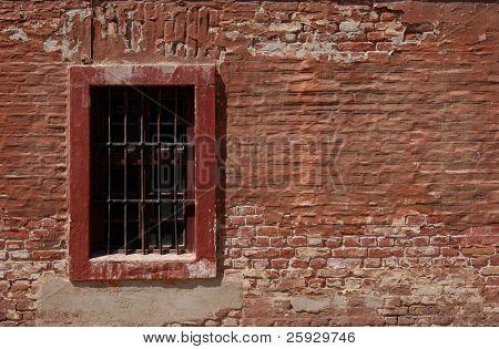 Window of a barrack of a nazi police prison in Terezin, Czech Republic.