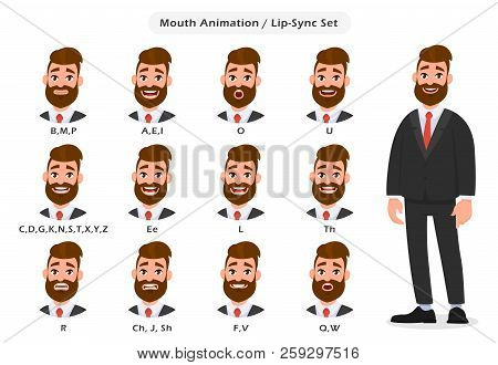 Set Of Lip Sync Collection For Animation Of The Talking Businessman. Mouth And Lips Sync For Sound P