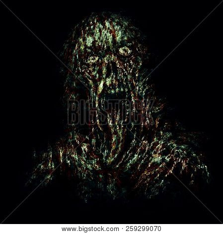 Scary Green Zombie With Torn Face And Hanging Tongue. Illustration In Horror Genre On Black Backgrou