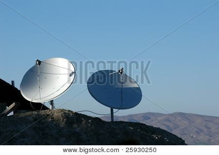 Two dish antennas in the mountains in Cappadocia, Turkey.