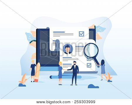 Human Resources, Recruitment Concept For Web Page, Banner Presentation, Social Media, Documents Card