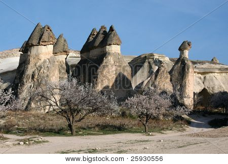 Stone chimneys with artificial caves in Pasabagi aka the Monk's Valley in Cappadocia, Turkey