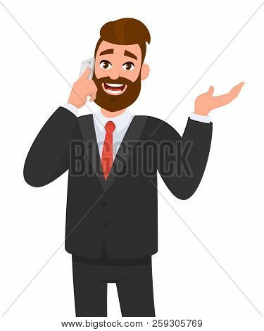 Happy Confident Businessman Speaking On Smartphone And Gesturing Hand To Copy Space. Business Man Ta