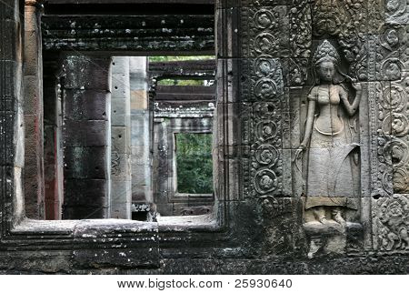 Apsara dancer at the bas-relief of Banteay Kdei Temple in the Angkor Area near Siem Reap, Cambodia.