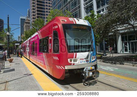 Salt Lake City - Jun. 20, 2018: Uta Light Rail Siemens S70 Blue Line At Gallivan Plaza Station In Do