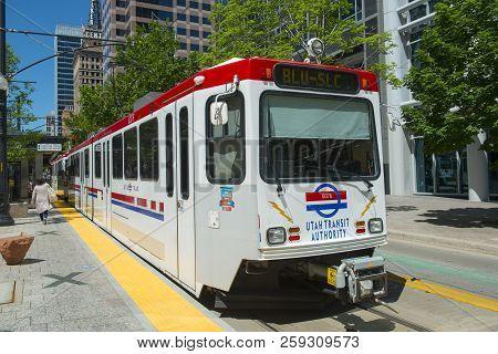 Salt Lake City - Jun. 20, 2018: Uta Light Rail Siemens Sd-160 Blue Line At Gallivan Plaza Station In