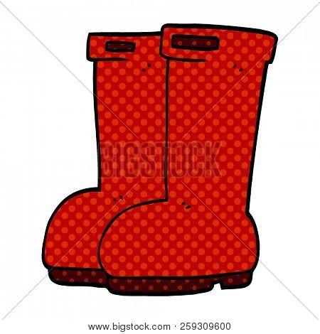 cartoon doodle red wellies