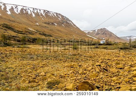 Striking Yellow Rocks Of The Tablelands, Gros Morne National Park, Newfoundland,canada