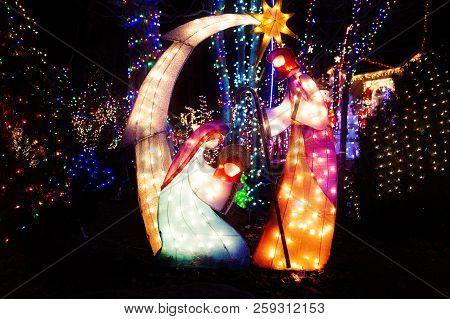 Christmas Nativity Scene. Luminous Decorations For Christmas