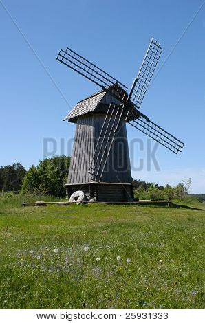 Old windmill in Mikhailovskoe, a family estate of the famous Russian poet Alexander Pushkin in the Pskov Region, Russia.