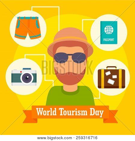 World Tourism Day Icon Background. Flat Illustration Of World Tourism Day Icon Background For Web De