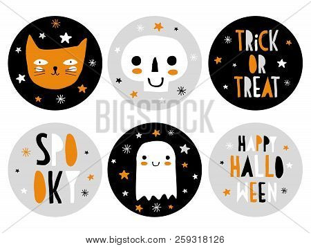 Funny Hand Drawn Halloween Candy Bar Tags. Cute Halloween Cartoons. Infantile Style. Skull, Cat And