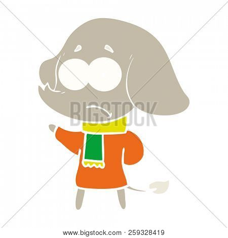 flat color style cartoon unsure elephant in scarf