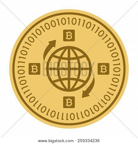 Golden Coin With Globe Sign. Money And Finance Symbol Cryptocurrency. Vector Illustration Isolated O