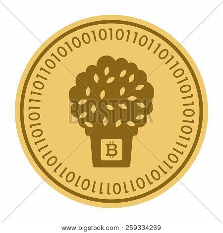 Golden Coin With A Tree In A Pot Sign. Money And Finance Symbol Cryptocurrency. Vector Illustration