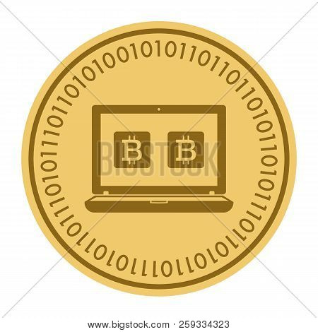 Golden Coin With Pc Sign. Money And Finance Symbol Cryptocurrency. Vector Illustration Isolated On W