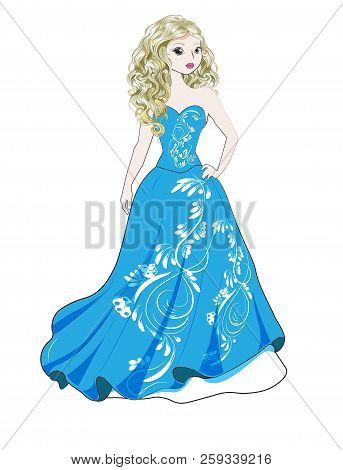 Beautiful Young Princess In A Magnificent Blue Dress