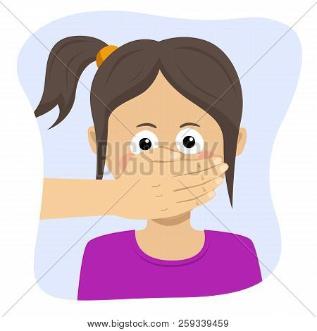 Scared Young Girl With Adult Man's Hand Covering Her Mouth
