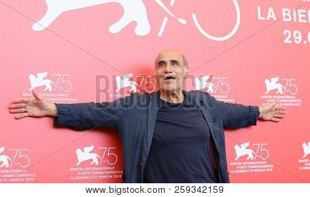 Director Amir Naderi attends 'Magic Lantern' photocall during the 75th Venice Film Festival at Sala Casino on September 4, 2018 in Venice, Italy.