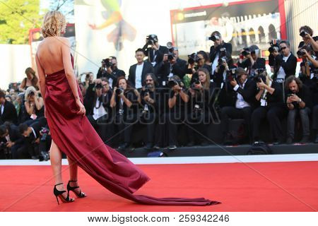 Atmosphere walk the red carpet ahead of the 'Vox Lux' screening during the 75th Venice Film Festival at Sala Grande on September 4, 2018 in Venice, Italy.