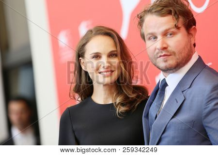 Natalie Portman and Brady Corbet attend 'Vox Lux' photocall during the 75th Venice Film Festival at Sala Casino on September 4, 2018 in Venice, Italy.