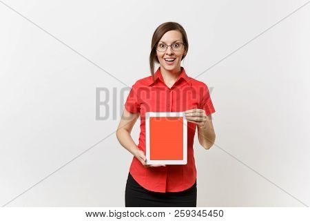 Portrait Of Business Teacher Woman In Red Shirt Hold Tablet Pc Computer With Blank Black Empty Scree