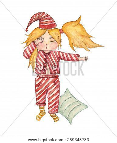 Watercolor Cute Girl In A Coverlet With Pillow On White Background. For Kids