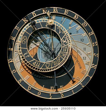 Famous astronomical clock in Prague, Czech Republic, isolated on black